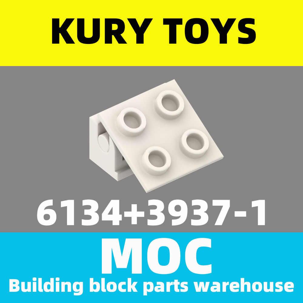 Kury Mainan DIY Moc untuk 6134 + 3937 Blok Bangunan Bagian untuk Pagar Bata 2X2 Atas + Engsel bata 1X2 Base untuk Mengunci-Engsel