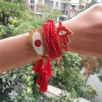 Rttooas Turkish Evil Eye Bracelet Women Hamsa Fatima Charm Bracelets Pulsera Mujer 2020 Crystal Tassel Jewelry Friendship Gifts