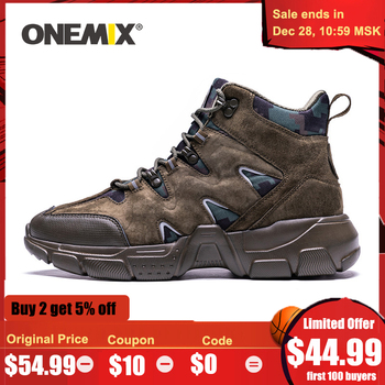 ONEMIX Men Hiking Shoes High Top Waterproof Leather Lightweight Outdoor Climbing Fishing Trekking Military Tactical Boots - discount item  45% OFF Sneakers