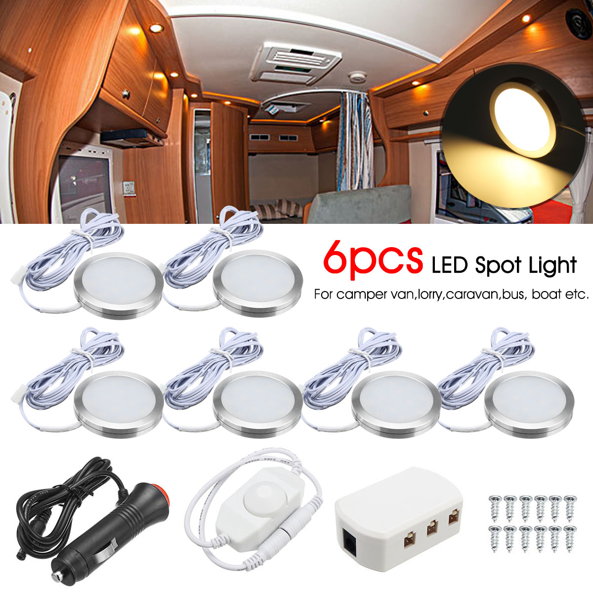 6pcs 12V Round <font><b>LED</b></font> <font><b>Spot</b></font> Light Auto Ceiling Dome Lamps Dimmable <font><b>Wall</b></font> Lamp For Car Auto RV Home Hotel image