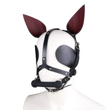 Fetish Leather Harness Head Piece Hood Mask With Silicone Bone Mouth Gag Ears Eye Shade Bit Blindfol
