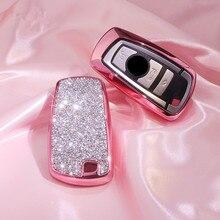 Lüks elmas araba anahtar kapağı kılıfı BMW 520 525 için f30 f10 F18 118i 320i 1 3 5 7 serisi X3 X4 m3 M4 M5 zinciri kızlar kadınlar hediye
