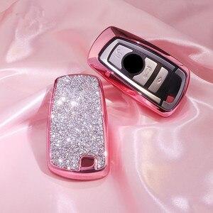 Image 1 - Luxury Diamond Car Key Cover Case For BMW 520 525 f30 f10 F18 118i 320i 1 3 5 7 Series X3 X4 M3 M4 M5 Chain for Girls Women Gift