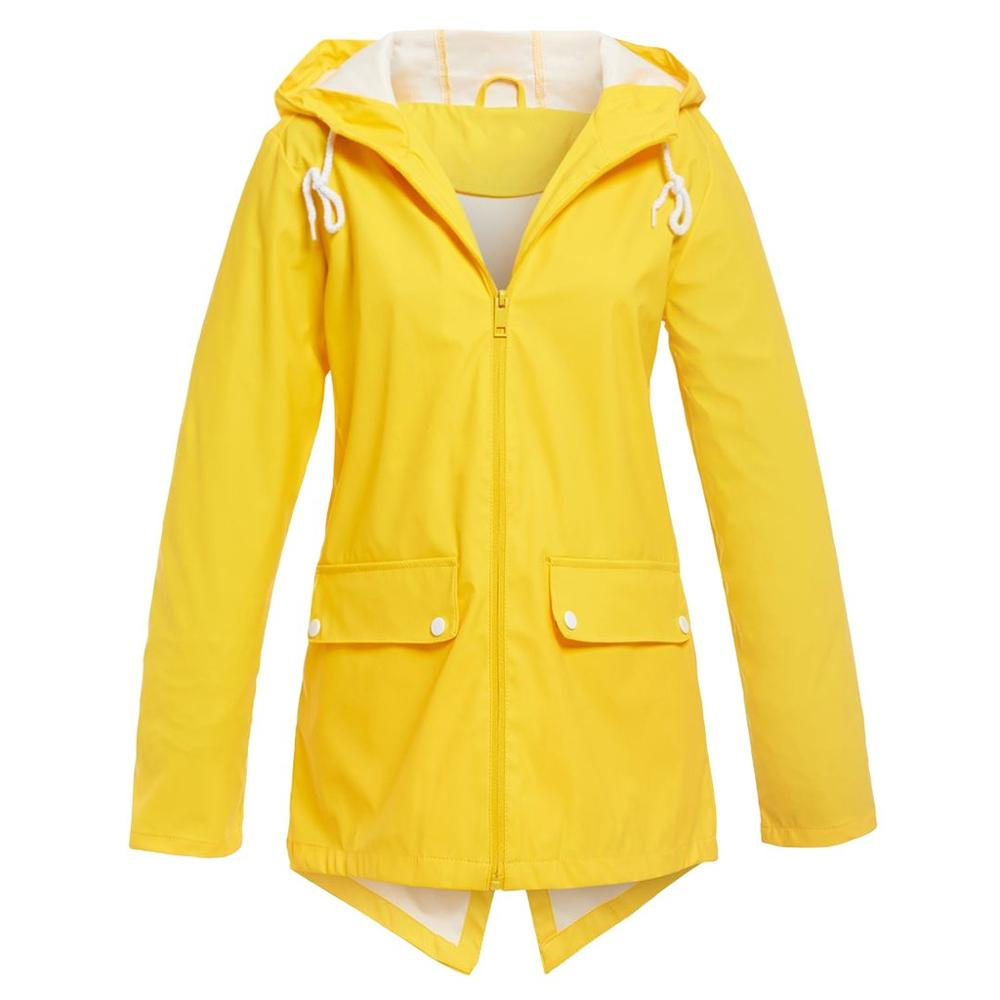Hxroolrp Yellow Female Casual Solid Outdoor Plus Size Hooded Windproof Jackets Women Loose Camping Hiking Warm Outwear Coat