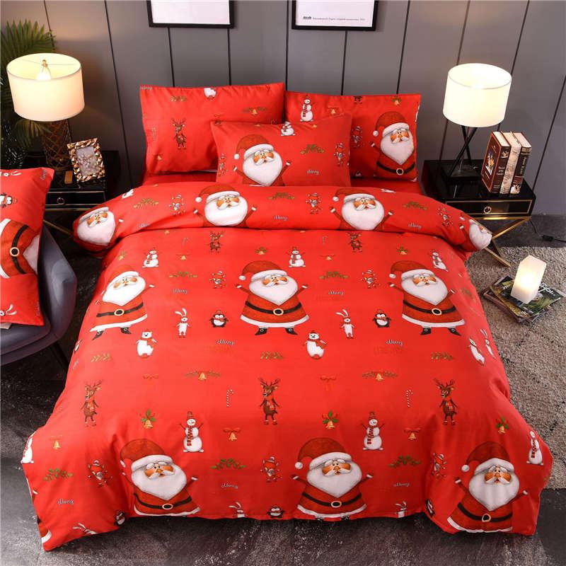 Liv-Esthete Christmas Red Bedding Set Snowman Deer Winter Duvet Cover Double Queen King Bed Linen Pillowcase Flat Sheet For Gift