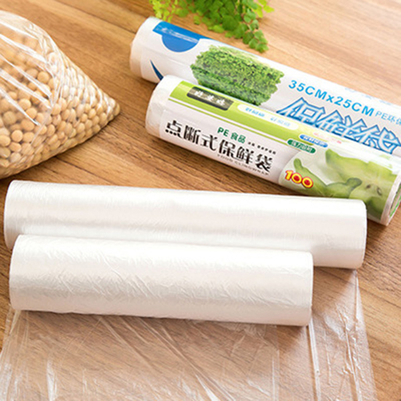 Food Fruit Storage Bag Packaging New Plastic Bags Saran Wrap 1 Roll Kitchen Fresh Keeping Heat Sealer Food Saver Bag Vacuum