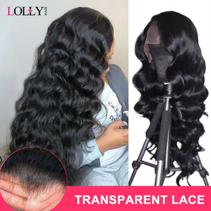 Loose Wave Wig Lace Front Human Hair Wigs For Black Women Transparent Lace Wigs Pre Plucked Malaysian Hair Lace Closure Wig(China)