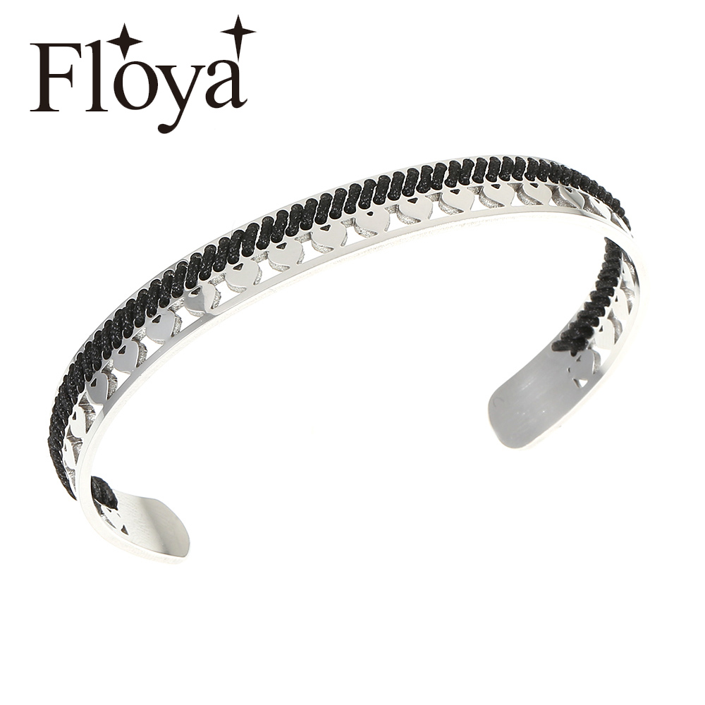 Floya Bohemian Cuff Bangles Ethnic style womens Heart Charm bracelets ladies original handmade Bracelet wholesale