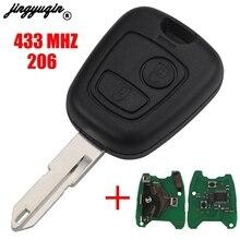 Jingyuqin 2 botões pedir ne73 lâmina remoto chave escudo fob controlador apto para peugeot 206 433mhz com chip de identificador pcf7961