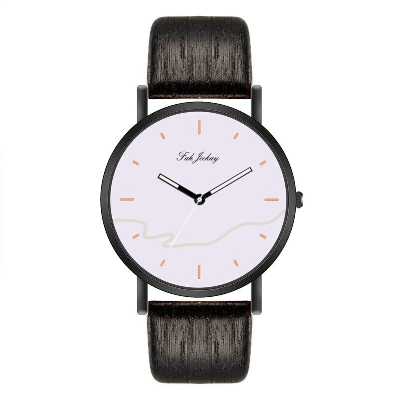 WJ-8733, модные парные часы, повседневные наручные часы с кожаным ремешком для мужчин и женщин, Простые Классические наручные часы для влюбленных, кварцевые часы - Цвет: Black White
