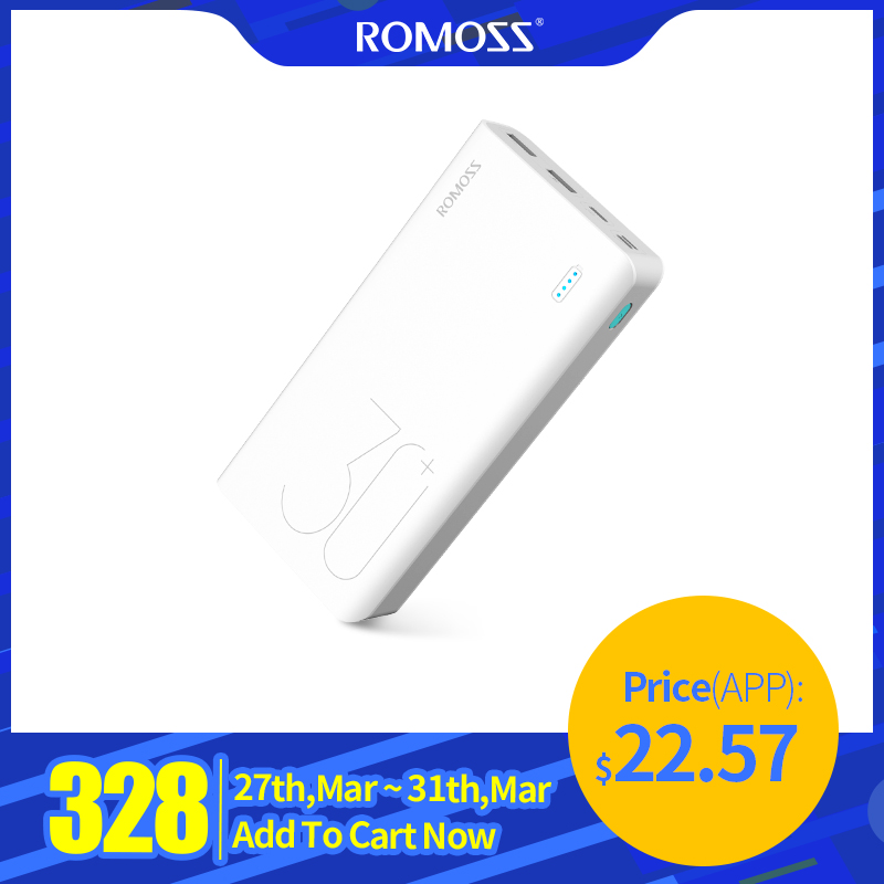 ROMOSS Sense 8+ 30000mAh Power Bank Portable External Battery With PD3.0 Fast Charging Portable Charger For Phones Tablet
