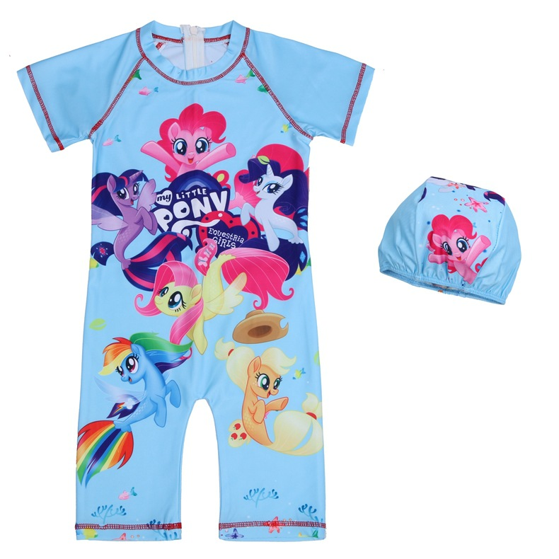 2019 Childrenswear Foreign Trade New Style Girls Big Boy One-piece Boxers Printed Cartoon Europe And America Child Bathing Suit