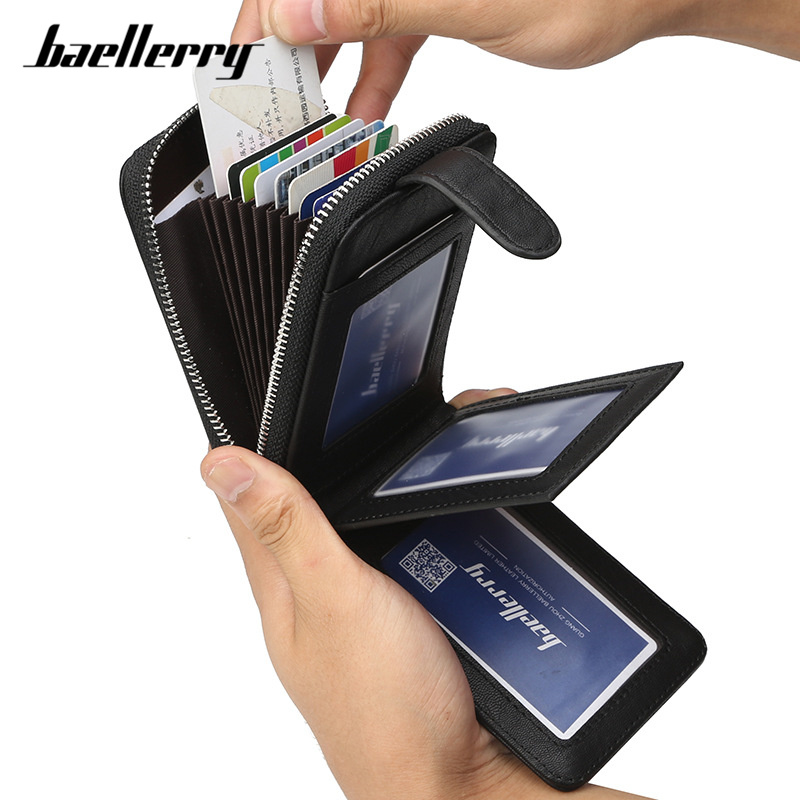 Baellerry Men's Credit Card Holder Wallet Male Concertina Fold Extendable Design PU Leather Male ID Cards Case Wallet Purse Bag