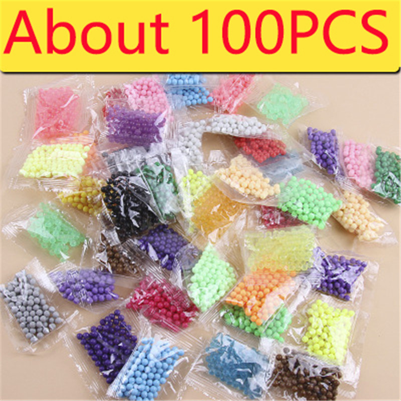 New 100PCS Water Beads Spray Animal Magic Beads Kit Balls Beads Puzzle Game Fun DIY 3D Puzzle Educational Toys For Children
