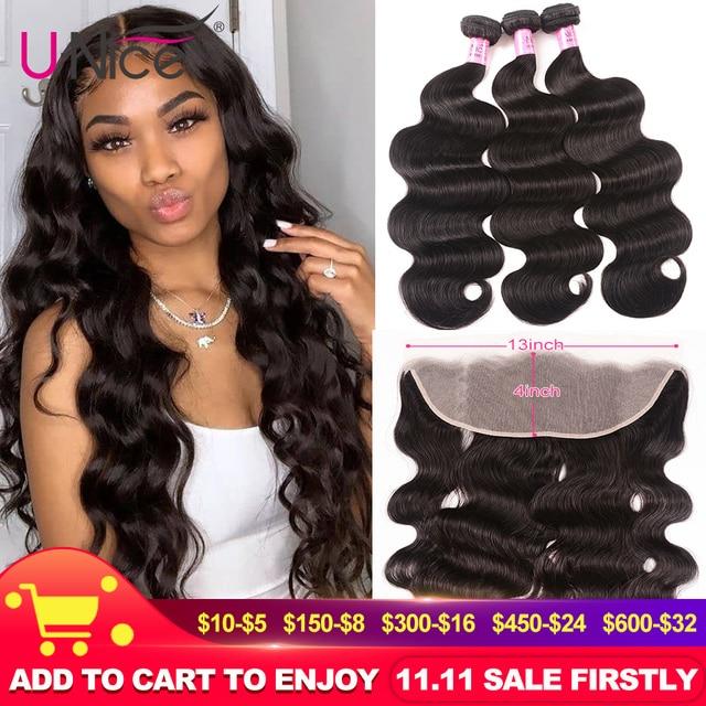 UNice Hair 13x4 Lace Frontal Closure With 3 Bundles Brazilian Body Wave Human Hair Bundle Lace Closure Black friday