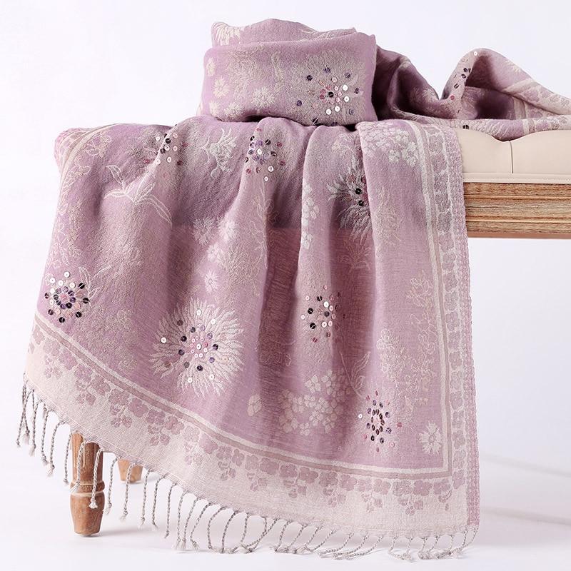 Handmade Beads Women Embroidery Cachecol Feminino Ultra Long Cashmere Blend Scarves Tassels Imitation Cashmere Muslim Hijab