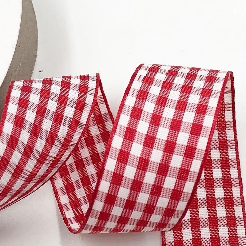"""Upick 1 """"25mm lotes rojos mezcla tartán a cuadros goma de pelo con lazo apliques manualidades de costura 5Y"""