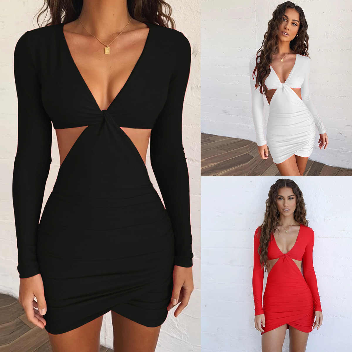 Sexy Deep V-Neck Long Sleeve Hollow Out Package Hip Mini Dress Women New Autumn Fashion Splice Exposed Waist Bodycon Party Dress