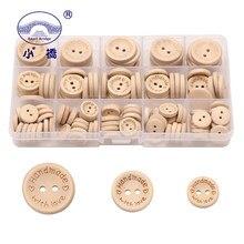 140 sztuk multi-size Natural Color 2 otwory drewniane guziki ręcznie robione akcesoria do szycia zdobiona guzikami przycisk na ubrania + 1box