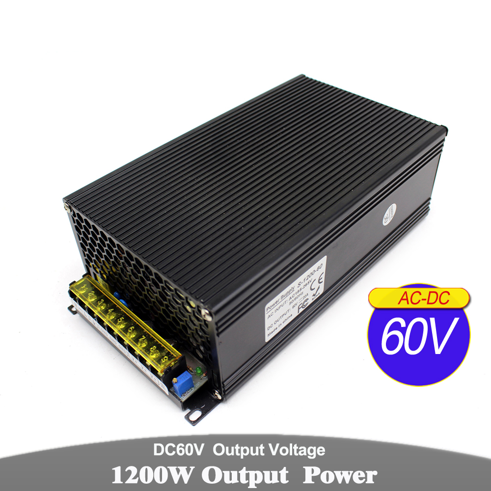 Variable 1200W 20a 60v DC unité d'alimentation transformateur 110V 220V AC DC60V pilote Source d'alimentation pour CNC routeur moteur pas à pas lampe