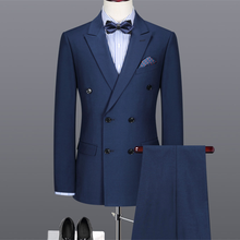 Pant Jacket Custom Suit Navy-Blue Wool Double-Breasted Mens Formal Classic 2pieces Blend