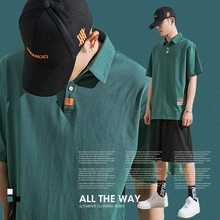 shirts men baggy polo casual sweat Tennis, golf fashion workout black white green short sleeve()