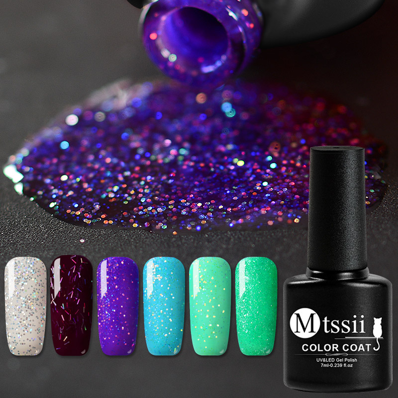 Mtssii 7ml Glitter  Nail Polish Holographic Platinum UV Nail Gel Polish Shine Shimmer Manicure Soak Off Nail Art Lacquer