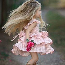 Платья для девочек, детские Платья с цветочным рисунком для девочек, детская одежда, платья для новорожденных, милое летнее платье розового ...