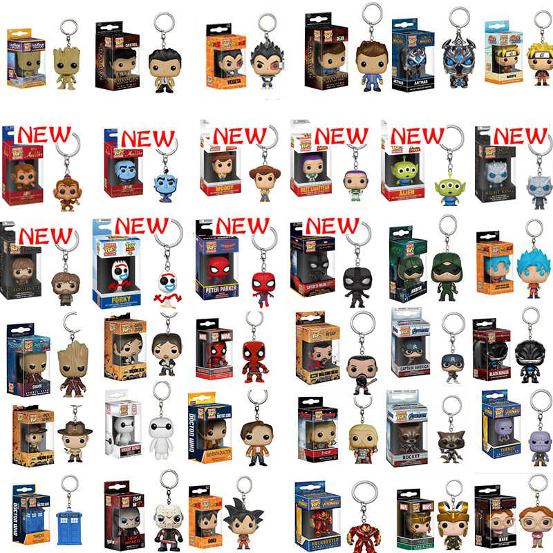 Funko pop dragon ball superman spiderman forky batman esquadrão suicida figura boneca collectible modelo chaveiro com caixa