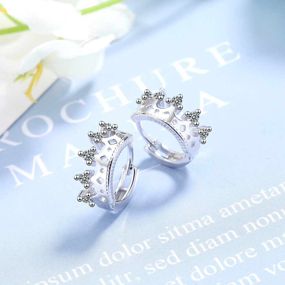 925 Sterling Silver Stud Earring Crystal Crown Earrings For Women Korean Girl Ear Jewelry Female 2020 New
