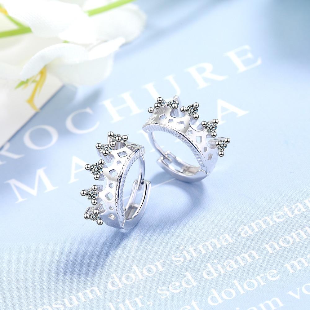 Silver Color Stud Earring Crystal Crown Earrings For Women Korean Girl Ear Jewelry Female 2020 New