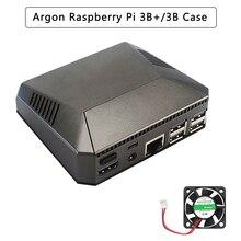 Argônio raspberry pi 3 modelo b + caixa de alumínio gabinete metal ventilador refrigeração dissipadores de calor para raspberry pi 3 b/b +