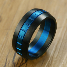 Fashion Vintage Mens Rings Stainless Steel Classic Black Color 8mm Ring Male Simple Jewelry Man For Cool Boy Wholesale
