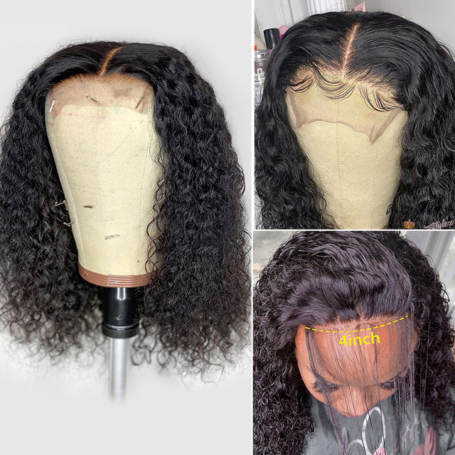 Tanie brazylijski kręcone Bob peruka ludzki włos koronki przodu peruki peruka krótka 4x4 koronki Glueless dla kobiet Unice cheveux humain perruque