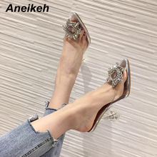 Aneikeh Star style Pointed toe Rhinestones High Heel Dress Slippers Summer Fashion Slip On Thin Heels Slides Women Mules Size 41