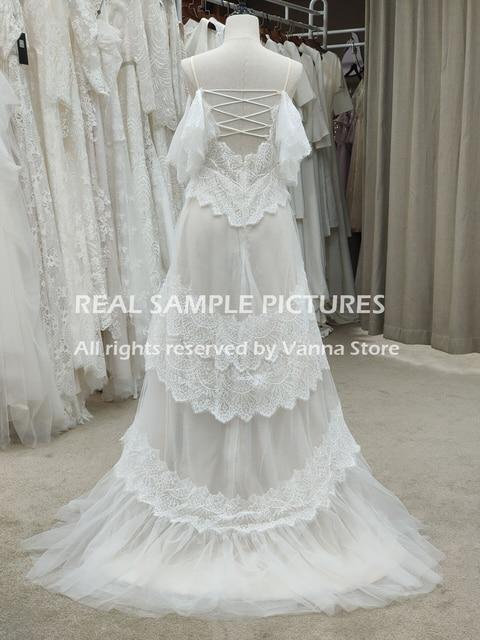 Bohemian Boho Beach Garden Bridal Gown Lace Champagne Spaghetti Straps Backless Destination Wedding Dress Vestido De Noiva #1241 5