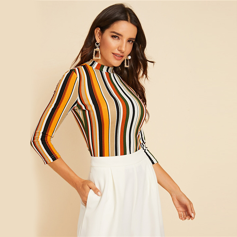 SHEIN Multicolor Mock-neck Form Fitted Striped Top Slim T Shirt Women Autumn 3/4 Length Sleeve Elegant Office Lady Tshirt Tops 4