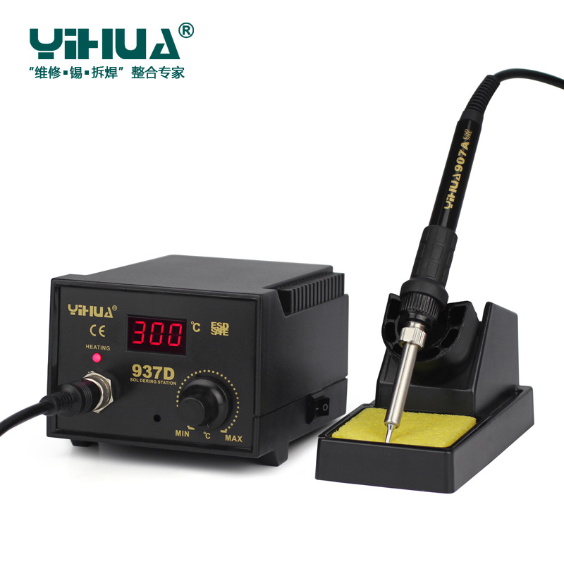 Tools : Newest YIHUA  220V 110V EU US 50W Temperature Control ESD Digital Soldering Station   Rework Stations YIHUA 937D with tools