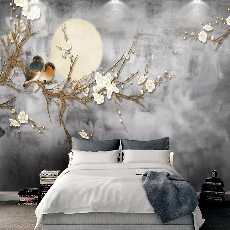 Photo-Wallpaper-3D-Chinese-Style-Flowers-And-Birds-Wall-Painting-Living-Room-TV-Sofa-Bedroom-Background