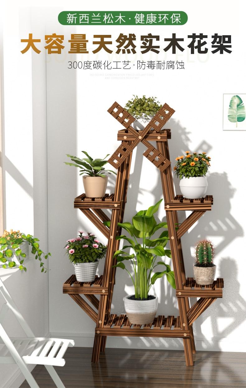 Wooden Plant Stand Indoor Outdoor Patio Garden Planter Flower Pot Stand Plant Stands Garden Décor