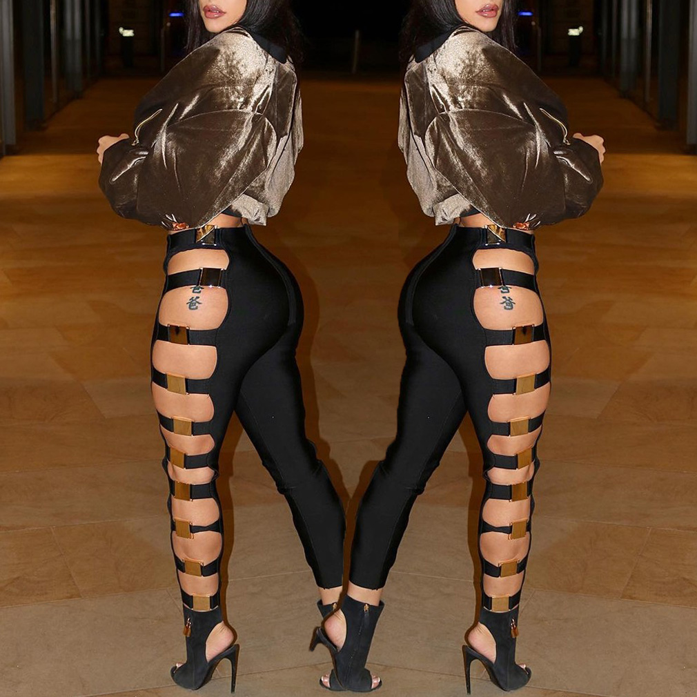 Goocheer New Sexy Women Hollow Out Holes Pants Bandage Wet Look Sexy Faux Leather Pants Trousers Clubwear Slim Leggings