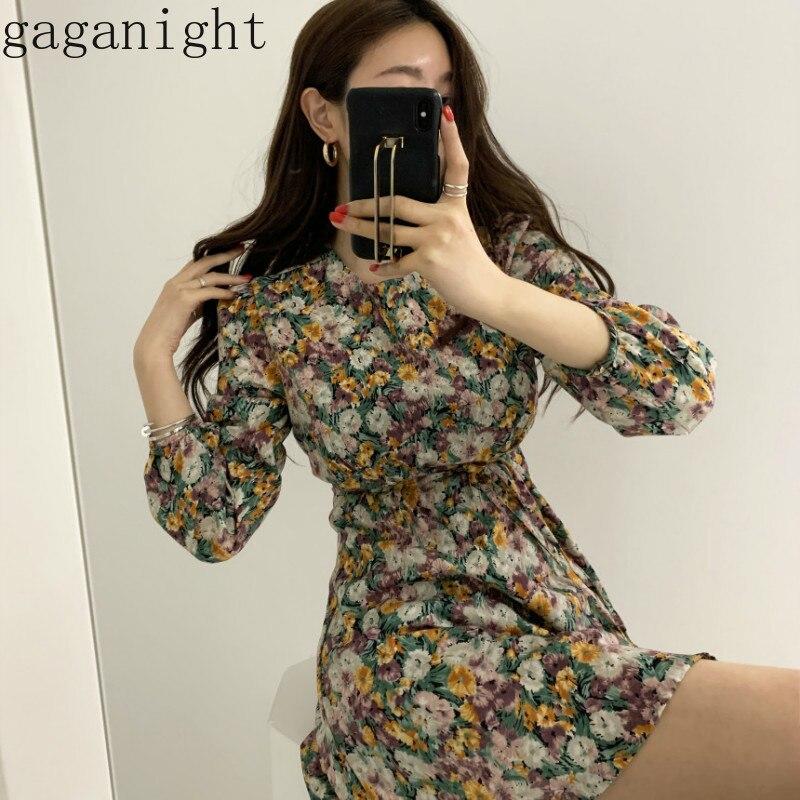 Gaganight корейское шикарное праздничное платье с принтом, высокая талия, бедра, линия, тонкий Vestido, о-образный вырез, длинный рукав, весна, Ropa, тон...