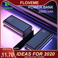 FLOVEME Power Bank 20000mAh Portable Charging Poverbank Mobi