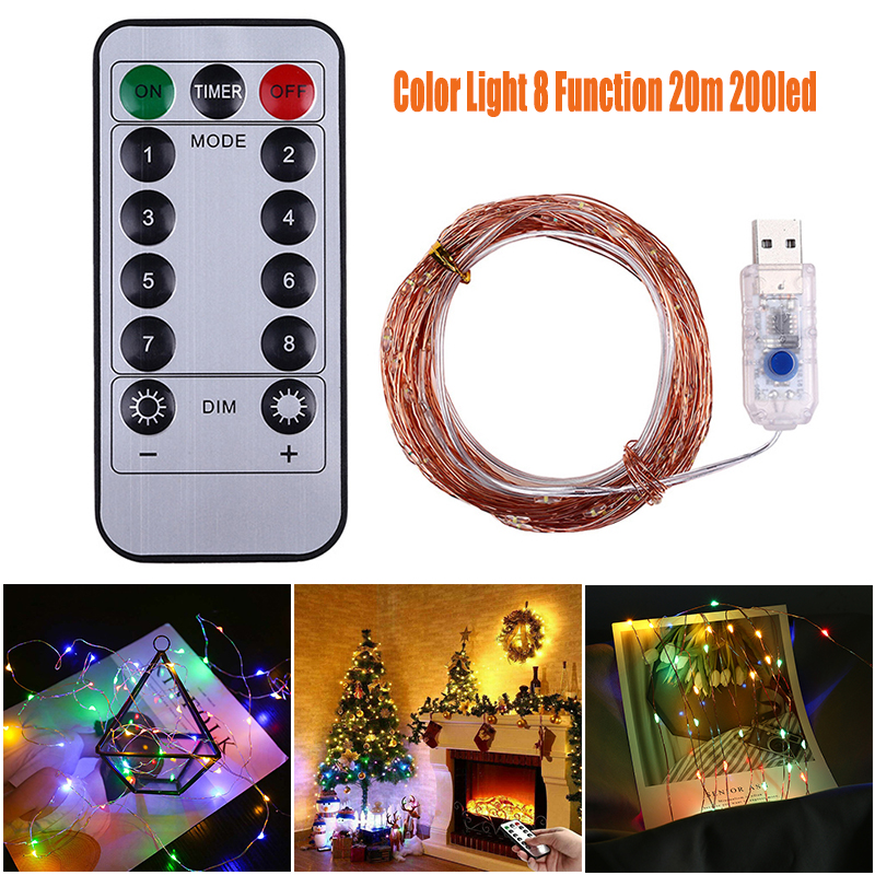 20M Fairy Lights 200 LED String Lights Remote Control Timer Twinkle String Lights 8 Modes Firefly Lights Holiday Light Strip
