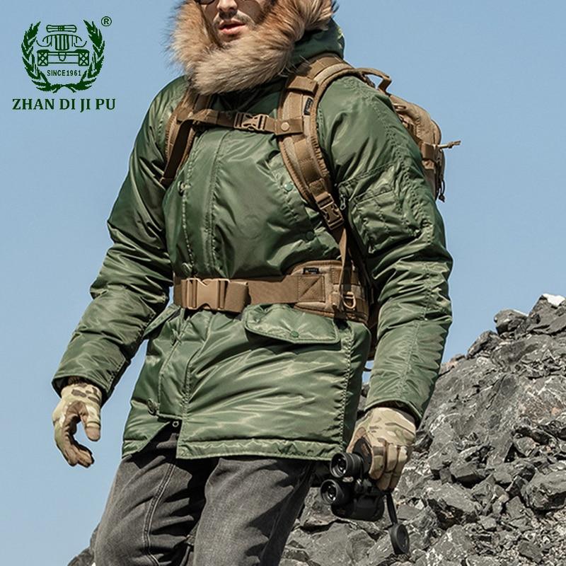 Для температуры до-20 градусов N3B зимние куртки-пуховики Для мужчин толстые теплые длинные пальто мужской Военная Униформа меховой воротник ...