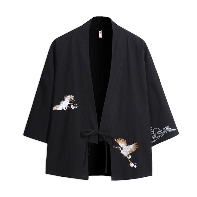 Japanese Style Embroidery Yukata Coat For Men Spring High Street Loose Soft Kimono Coat Vintage Linen Cotton Solid Colour Gown
