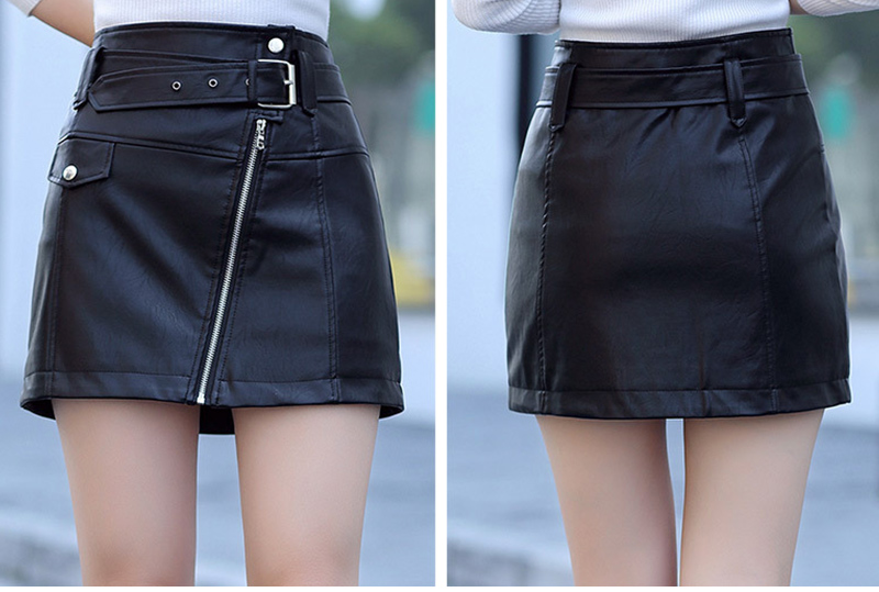Leather High Waist Vintage A-Line Office Solid Mini Skirt 7