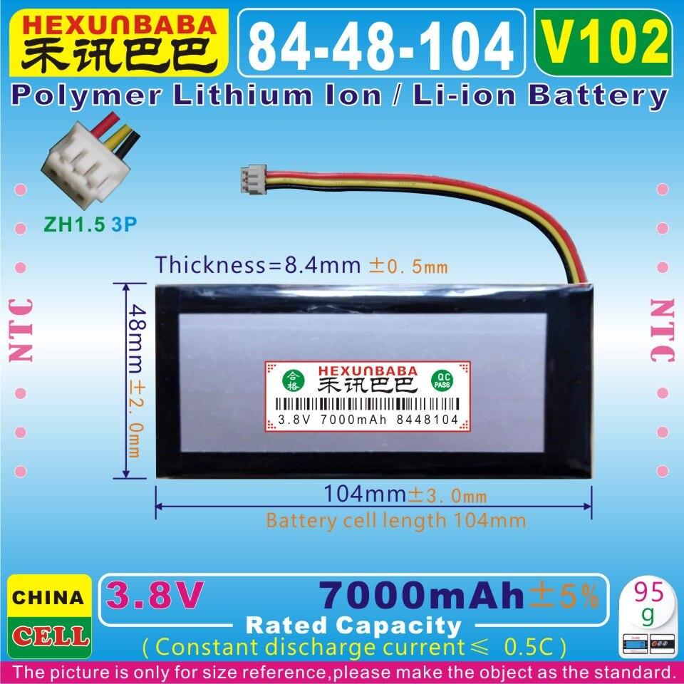 [V102] 3,8 в 7000 мАч [8448104] NTC;ZH1.5 3P; Три провода; Полимерный литий-ионный аккумулятор для нетбука, электронной книги; Планшетного ПК, GPD WIN