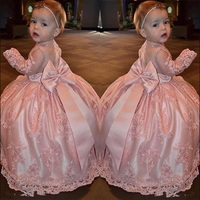 Pink Sheer Girls Birthday Gowns with Big Bow On Back Long Sleeves Lace Flower Girl Dress For Wedding Custom Made