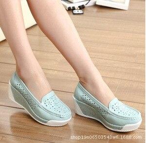 Image 3 - COWCOM Dropฤดูใบไม้ผลิหนาSoledรองเท้าแพลตฟอร์มรองเท้าสตรีสบายๆลาดกลวงรอบหัวรองเท้าสตรีด้านล่างฤดูร้อน
